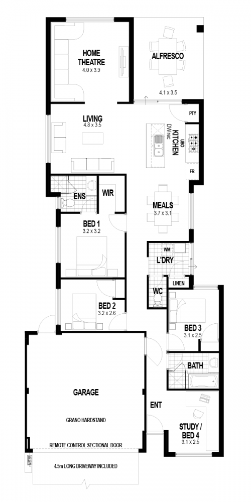 Floorplan for Lot 208 Repose Street, Southern River
