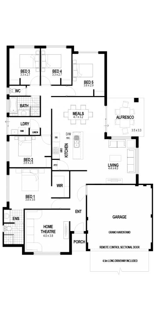 Floorplan for Lot 449 Seabass Chase, Atlantis Beach, Two Rocks