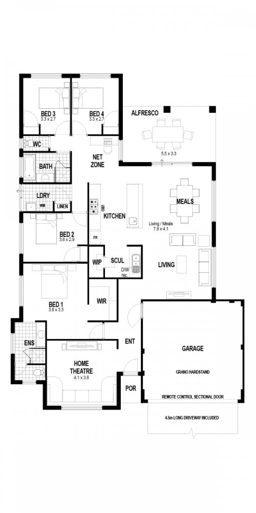 Floorplan for Lot 4075 Grasshopper Street, Banksia Grove