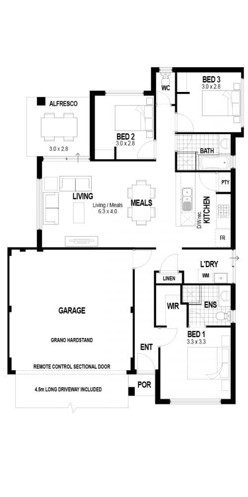 Floorplan for Lot 339 Lakewood Parkway, Coodanup