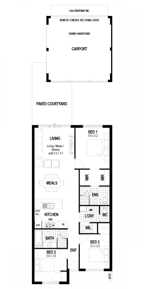 Floorplan for Lot 519 Boorabbin Dr, Baldivis