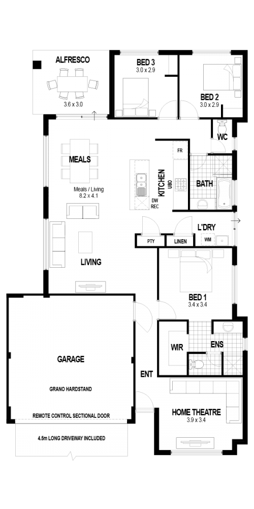Floorplan for Lot 166 Harrisdale Green Estate, Harrisdale