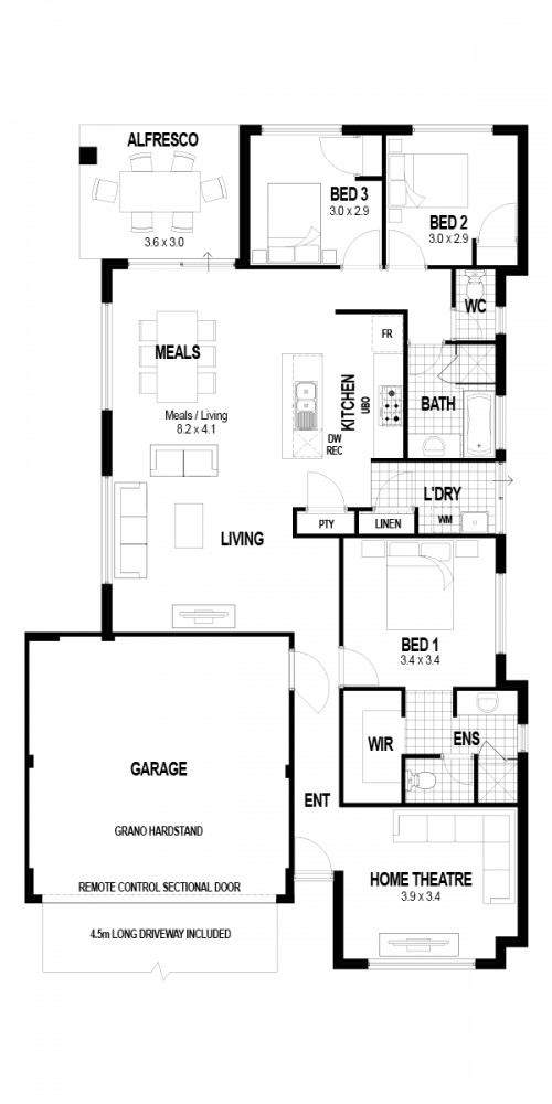 Floorplan for Lot 232 Zucca Crescent, Wellard