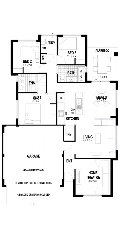 Floorplan for Lot 905 Isabelline Terrace, Amberton, Eglinton