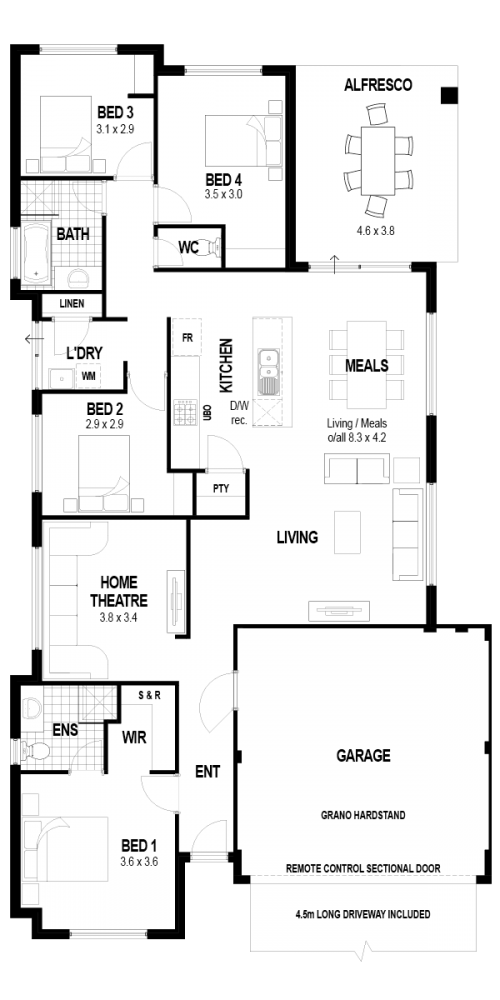 Floorplan for Lot 938 Isabelline Terrace, Eglinton